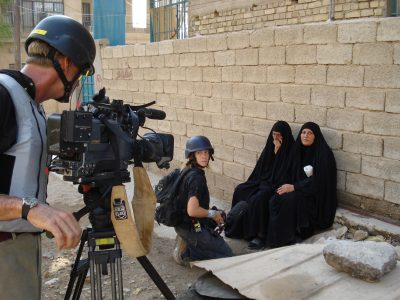 Arwa Damon covering the Iraq War.